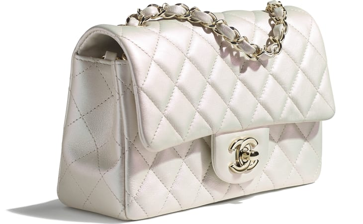 image 4 - Mini Flap Bag - Iridescent Calfskin & Gold-Tone Metal - White