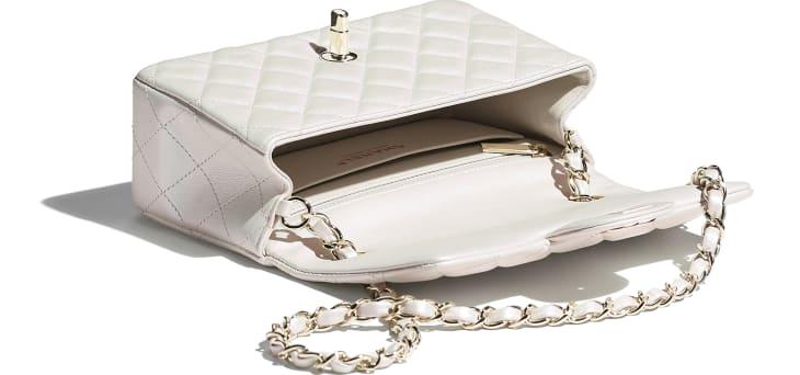 image 3 - Mini Flap Bag - Iridescent Calfskin & Gold-Tone Metal - White