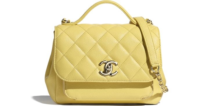 image 1 - Mini Flap Bag with Handle - Grained Calfskin & Gold-Tone Metal - Yellow