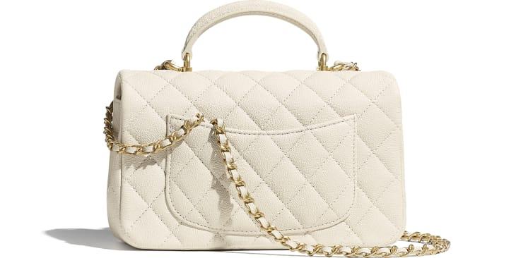 image 2 - Mini Flap Bag with Top Handle - Grained Calfskin & Gold-Tone Metal - Beige