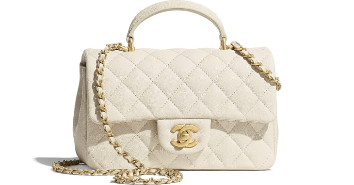 image 1 - Mini Flap Bag with Top Handle - Grained Calfskin & Gold-Tone Metal - Beige