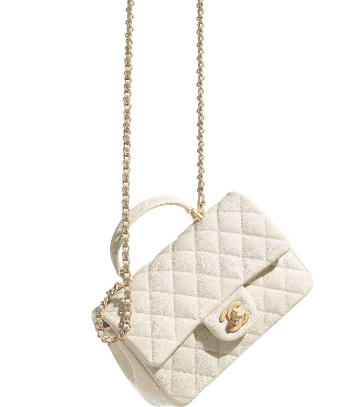 image 4 - Mini Flap Bag with Top Handle - Grained Calfskin & Gold-Tone Metal - Beige