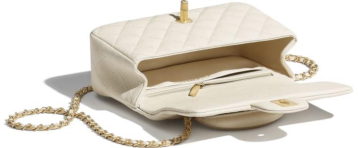 image 3 - Mini Flap Bag with Top Handle - Grained Calfskin & Gold-Tone Metal - Beige