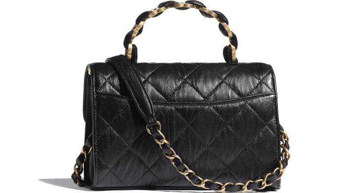 image 2 - Mini Flap Bag with Top Handle - Crumpled Lambskin & Gold-Tone Metal - Black