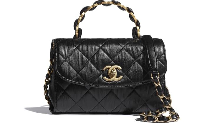 image 1 - Mini Flap Bag with Top Handle - Crumpled Lambskin & Gold-Tone Metal - Black