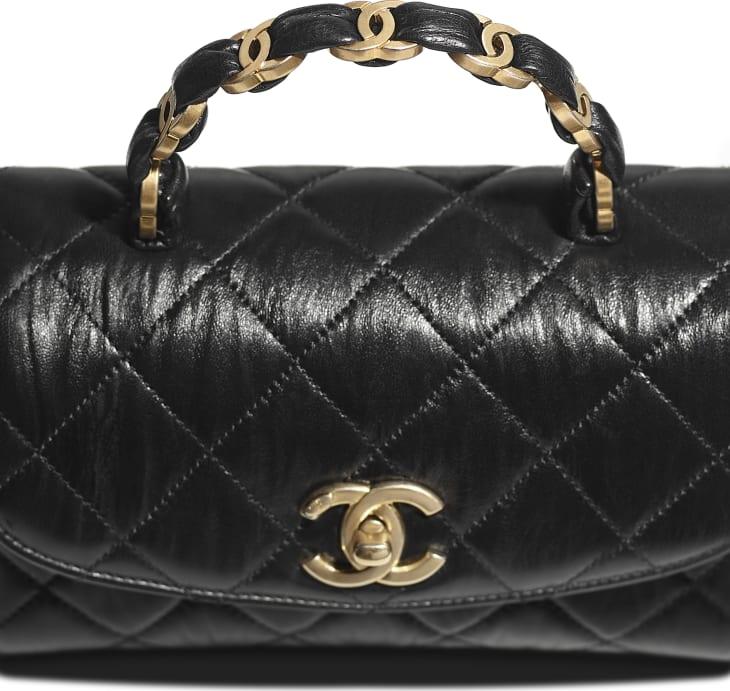 image 4 - Mini sac à rabat avec poignée - Agneau froissé & métal doré - Noir
