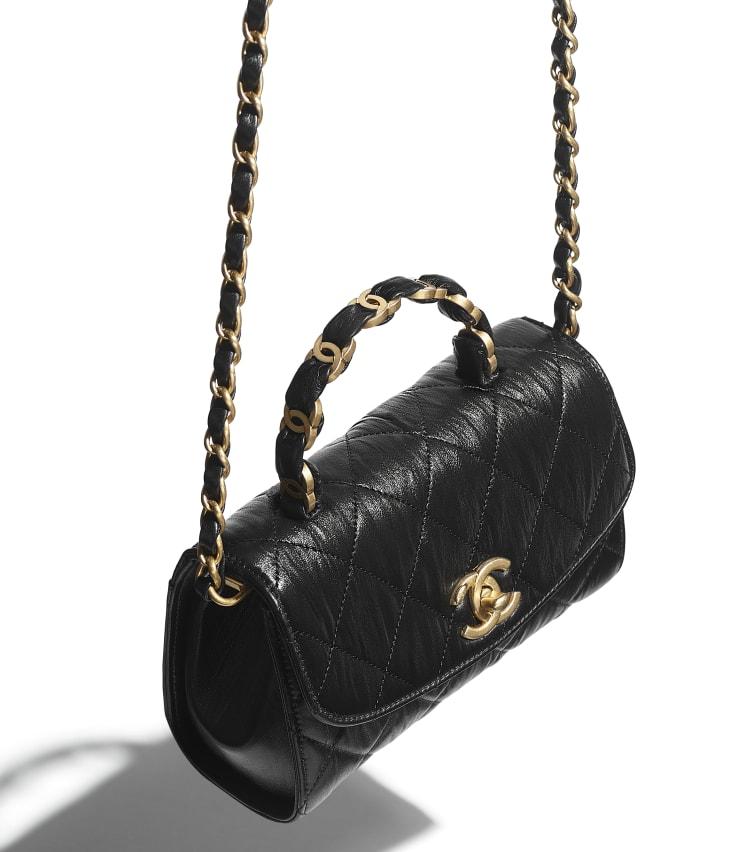 image 3 - Mini Flap Bag with Top Handle - Crumpled Lambskin & Gold-Tone Metal - Black