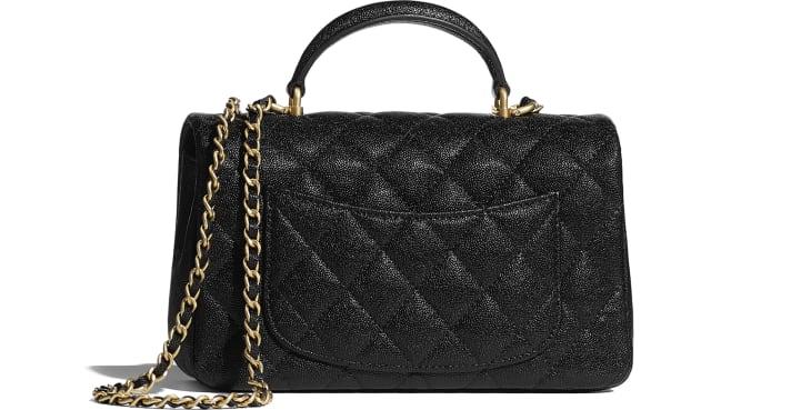 image 2 - Mini Flap Bag with Top Handle - Grained Calfskin & Gold-Tone Metal - Black