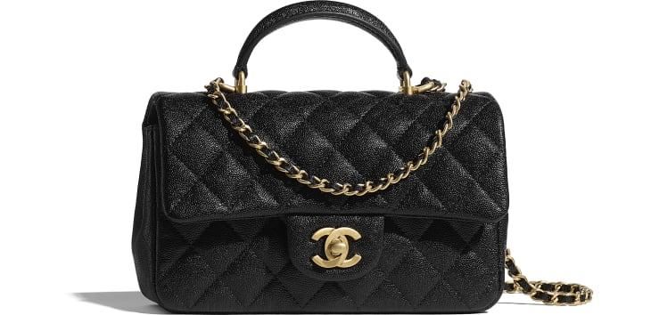 image 1 - Mini Flap Bag with Top Handle - Grained Calfskin & Gold-Tone Metal - Black