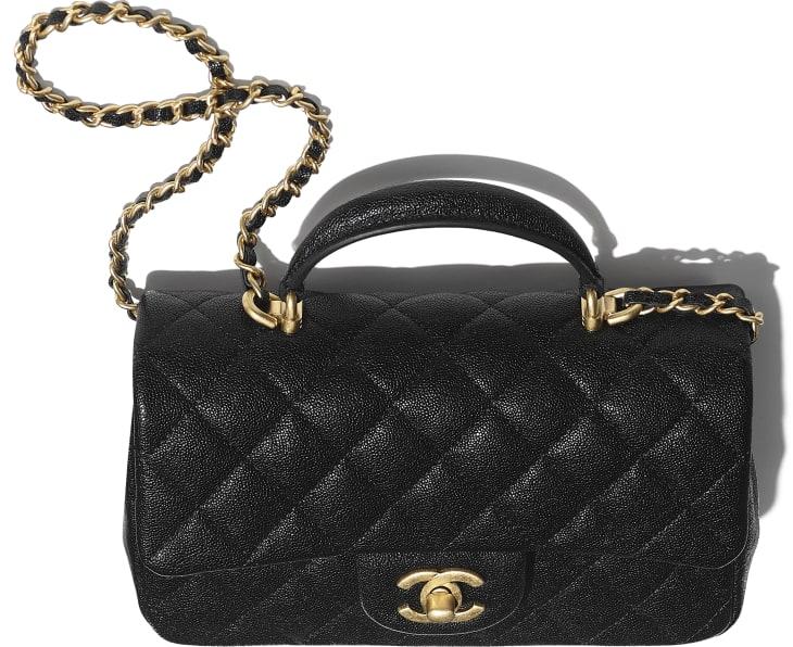image 4 - Mini Flap Bag with Top Handle - Grained Calfskin & Gold-Tone Metal - Black