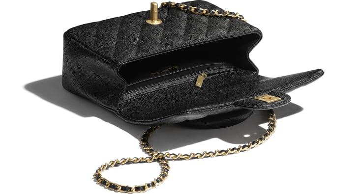 image 3 - Mini Flap Bag with Top Handle - Couro De Novilho Granulado & Metal Dourado - Preto
