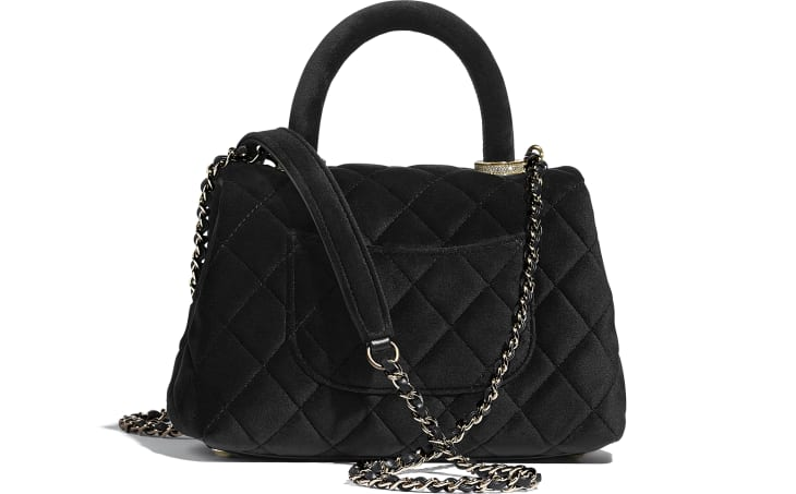 image 2 - Mini Flap Bag with Top Handle - Veludo, Strass & Metal Prateado - Preto
