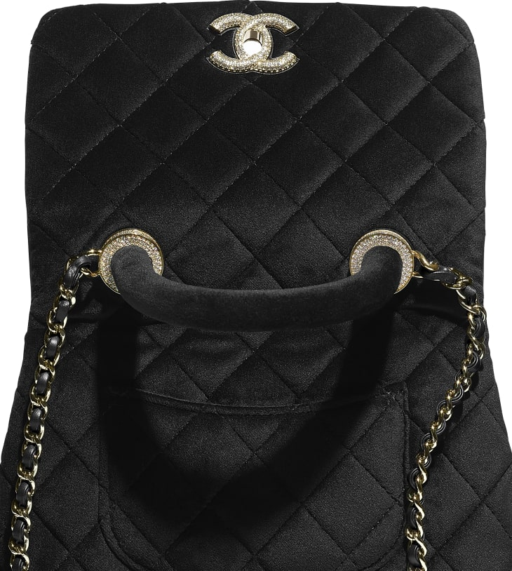 image 4 - Mini Flap Bag with Top Handle - Veludo, Strass & Metal Prateado - Preto