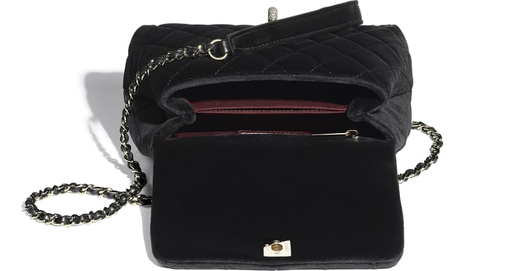 image 3 - Mini Flap Bag with Top Handle - Velvet, Strass & Gold-Tone Metal - Black