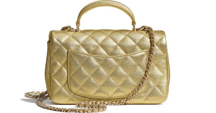 image 2 - Mini Flap Bag with Top Handle - Metallic Grained Calfskin & Gold-Tone Metal - Gold