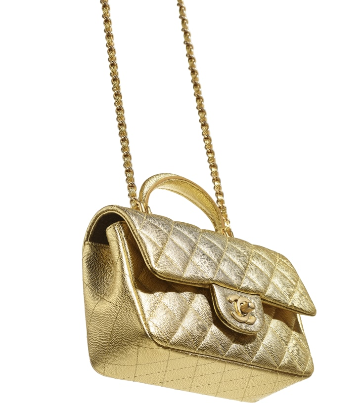 image 3 - Mini Flap Bag with Top Handle - Metallic Grained Calfskin & Gold-Tone Metal - Gold