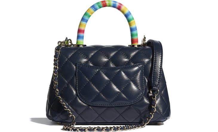 image 2 - Mini Flap Bag with Top Handle - Couro De Cabra & Metal Dourado - Azul Marinho