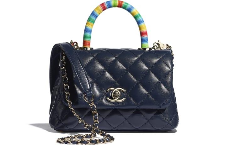 image 1 - Mini Flap Bag with Top Handle - Couro De Cabra & Metal Dourado - Azul Marinho