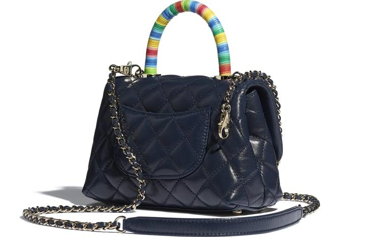 image 3 - Mini Flap Bag with Top Handle - Couro De Cabra & Metal Dourado - Azul Marinho
