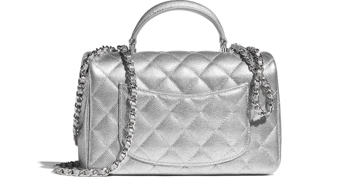image 2 - Mini Flap Bag with Top Handle - Metallic Grained Calfskin & Silver-Tone Metal - Silver
