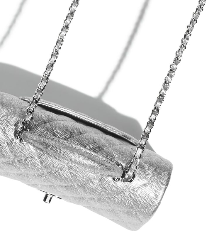 image 4 - Mini Flap Bag with Top Handle - Metallic Grained Calfskin & Silver-Tone Metal - Silver