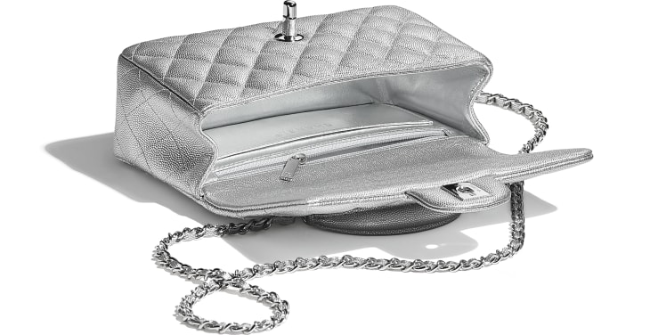 image 3 - Mini Flap Bag with Top Handle - Metallic Grained Calfskin & Silver-Tone Metal - Silver