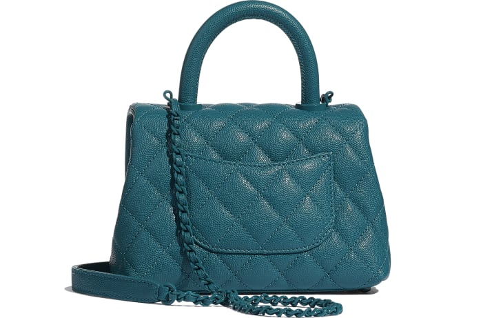 image 2 - Mini Flap Bag with Top Handle - Grained Calfskin & Lacquered Metal - Turquoise