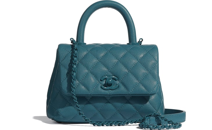 image 1 - Mini Flap Bag with Top Handle - Grained Calfskin & Lacquered Metal - Turquoise