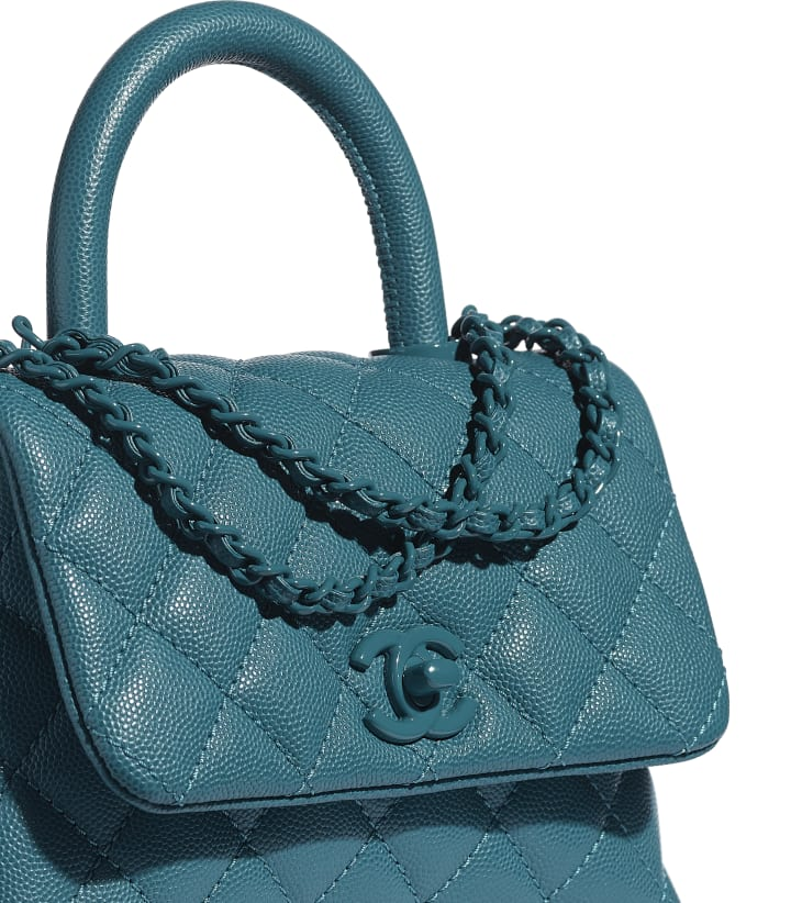 image 4 - Mini Flap Bag with Top Handle - Grained Calfskin & Lacquered Metal - Turquoise