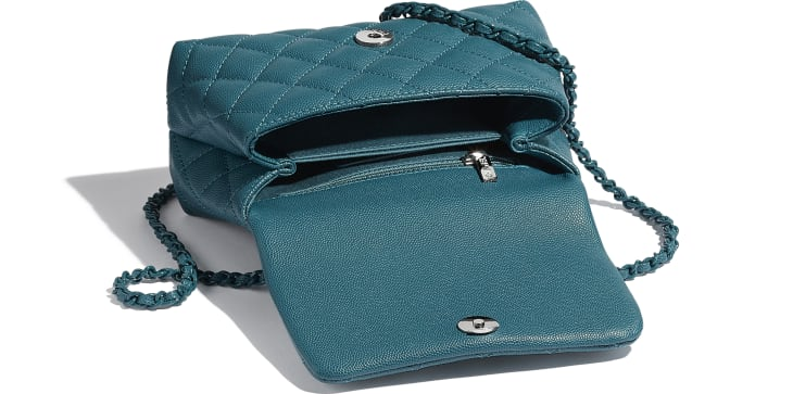 image 3 - Mini Flap Bag with Top Handle - Grained Calfskin & Lacquered Metal - Turquoise