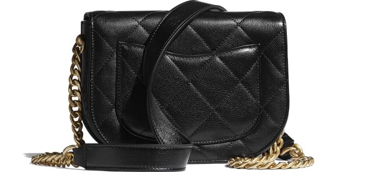 image 2 - Mini sac besace - Veau & métal doré - Noir