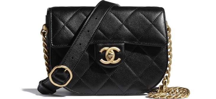 image 1 - Mini sac besace - Veau & métal doré - Noir