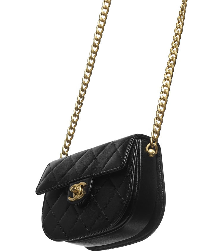 image 4 - Mini sac besace - Veau & métal doré - Noir