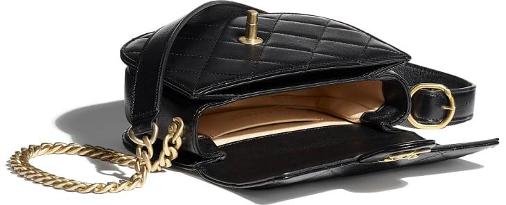 image 3 - Mini sac besace - Veau & métal doré - Noir