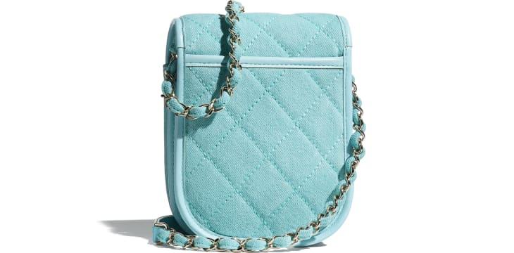 image 2 - Mini Messenger Bag - Jeans & Metal Dourado - Neon Blue