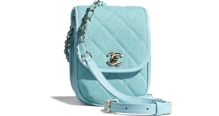 image 1 - Mini Messenger Bag - Jeans & Metal Dourado - Neon Blue