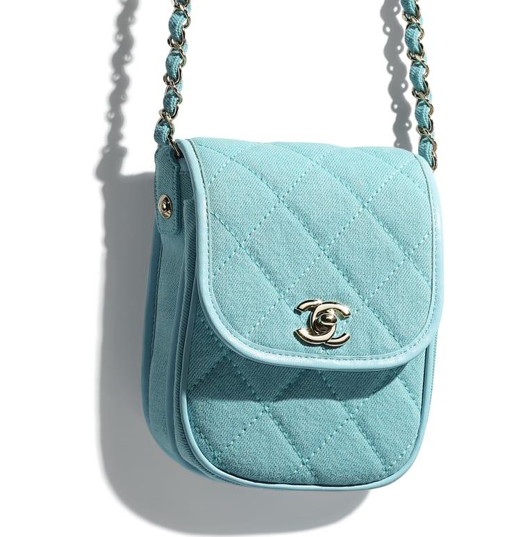 image 4 - Mini Messenger Bag - Jeans & Metal Dourado - Neon Blue