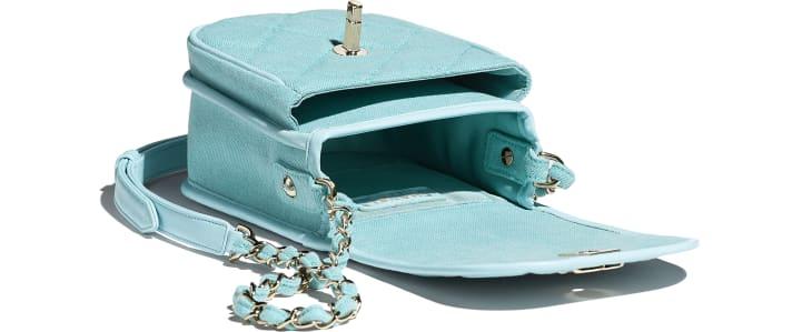 image 3 - Mini Messenger Bag - Jeans & Metal Dourado - Neon Blue
