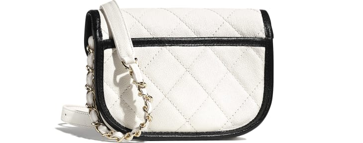 image 2 - Mini Messenger Bag - Grained Calfskin & Gold-Tone Metal - White & Black
