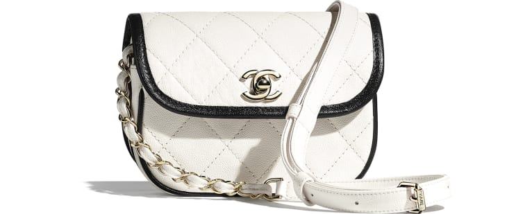image 1 - Mini Messenger Bag - Grained Calfskin & Gold-Tone Metal - White & Black