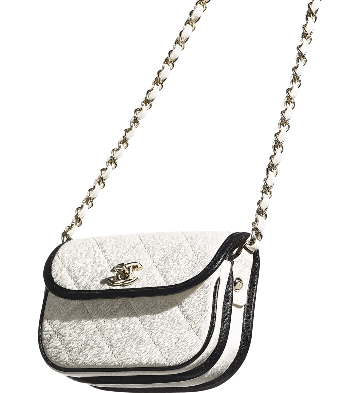 image 4 - Mini Messenger Bag - Grained Calfskin & Gold-Tone Metal - White & Black