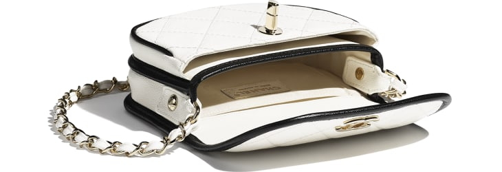 image 3 - Mini Messenger Bag - Grained Calfskin & Gold-Tone Metal - White & Black