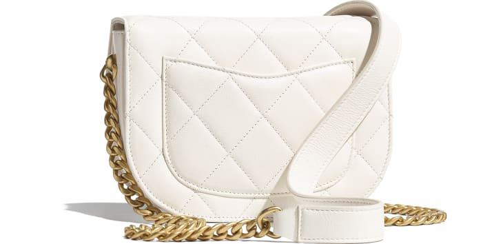 image 2 - Mini sac besace - Veau & métal doré - Blanc