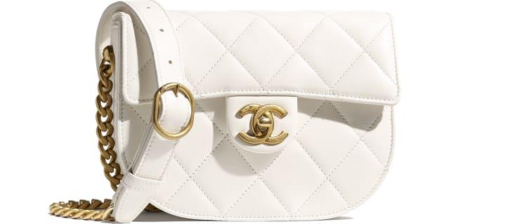 image 1 - Mini sac besace - Veau & métal doré - Blanc