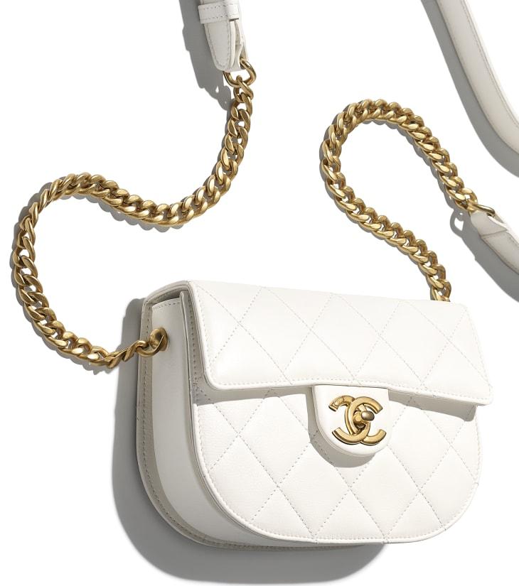 image 4 - Mini sac besace - Veau & métal doré - Blanc