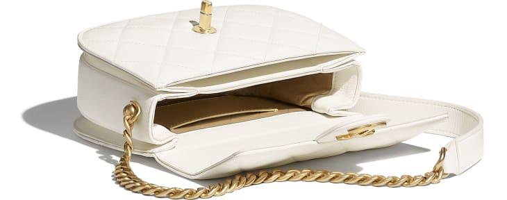 image 3 - Mini sac besace - Veau & métal doré - Blanc
