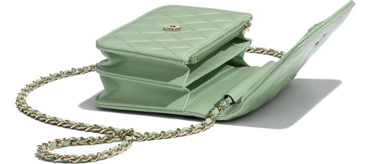 image 4 - Mini Wallet on Chain - Lambskin & Gold-Tone Metal - Green