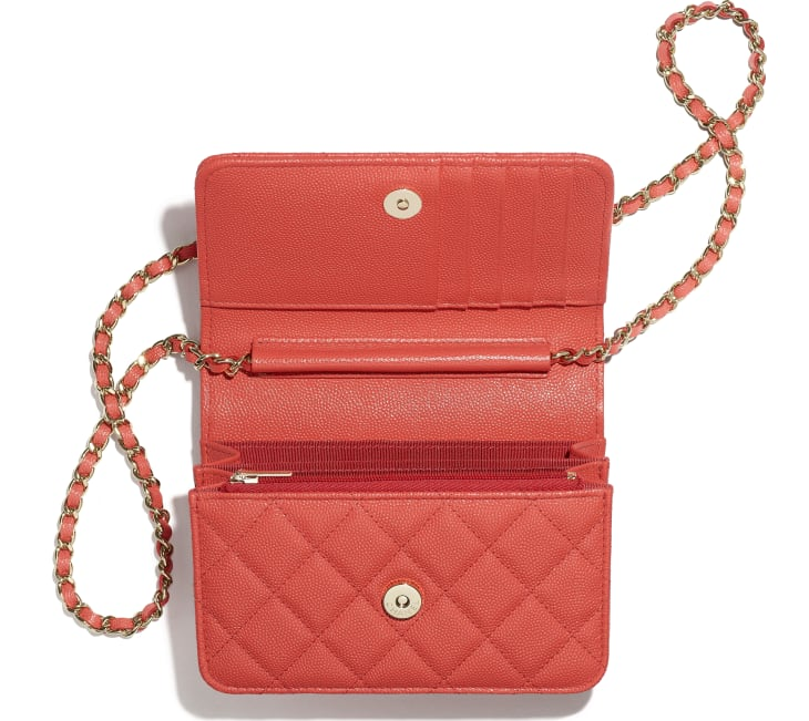 image 2 - Mini Wallet on Chain - Grained Calfskin & Gold-Tone Metal - Red