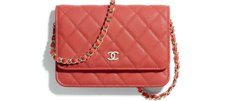 image 1 - Mini Wallet on Chain - Grained Calfskin & Gold-Tone Metal - Red