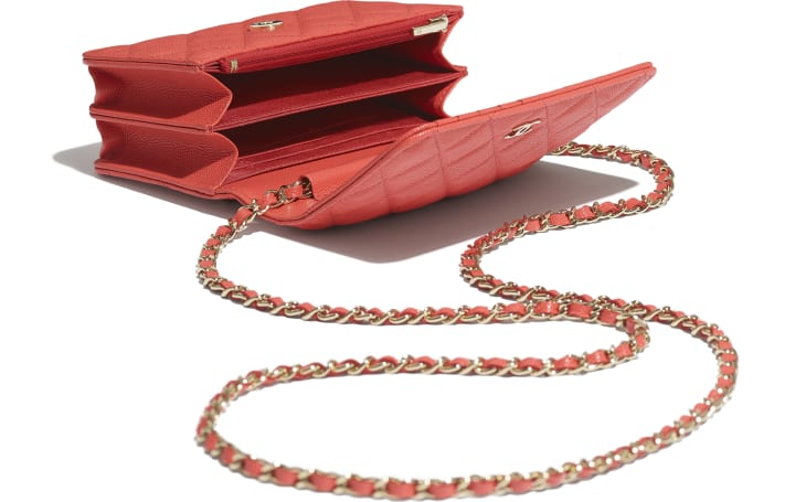 image 3 - Mini Wallet on Chain - Grained Calfskin & Gold-Tone Metal - Red